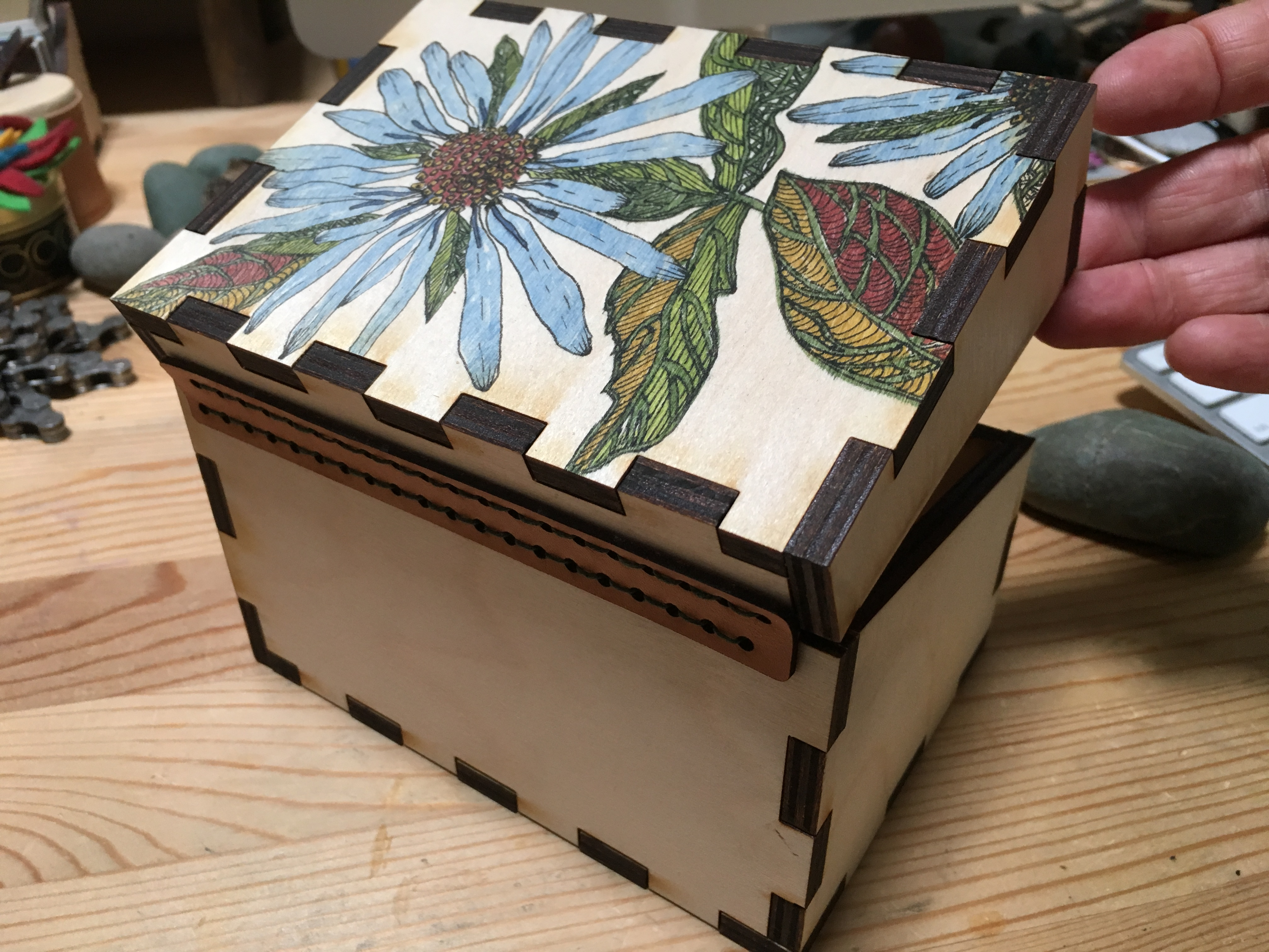 Picture of Wildflower Inked Recipe Box