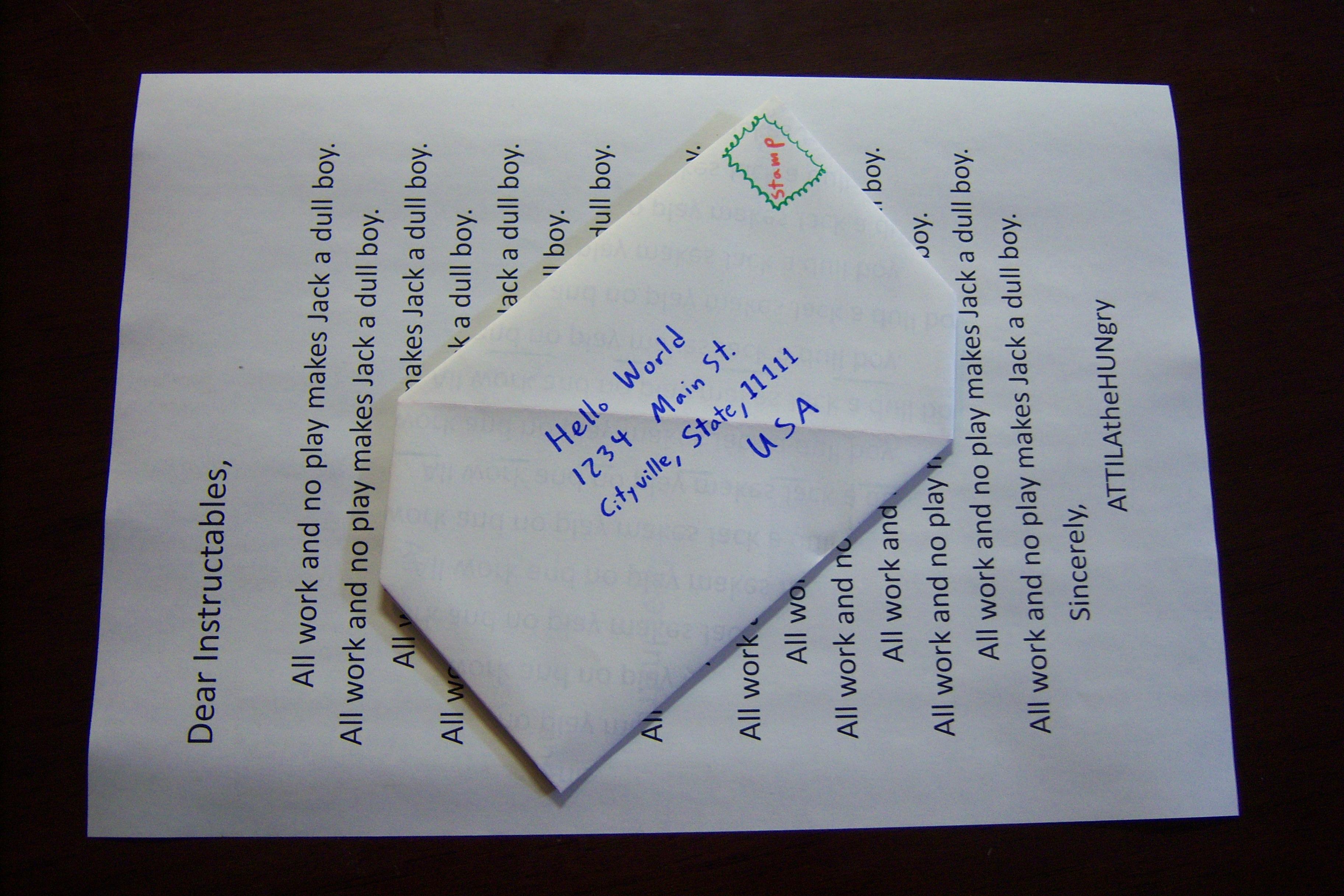EnvelopeFree Letter Sending SnailMail Origami  Steps With