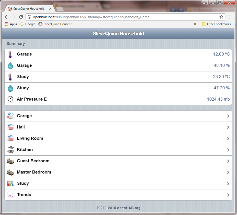 Picture of OpenHAB Configuration