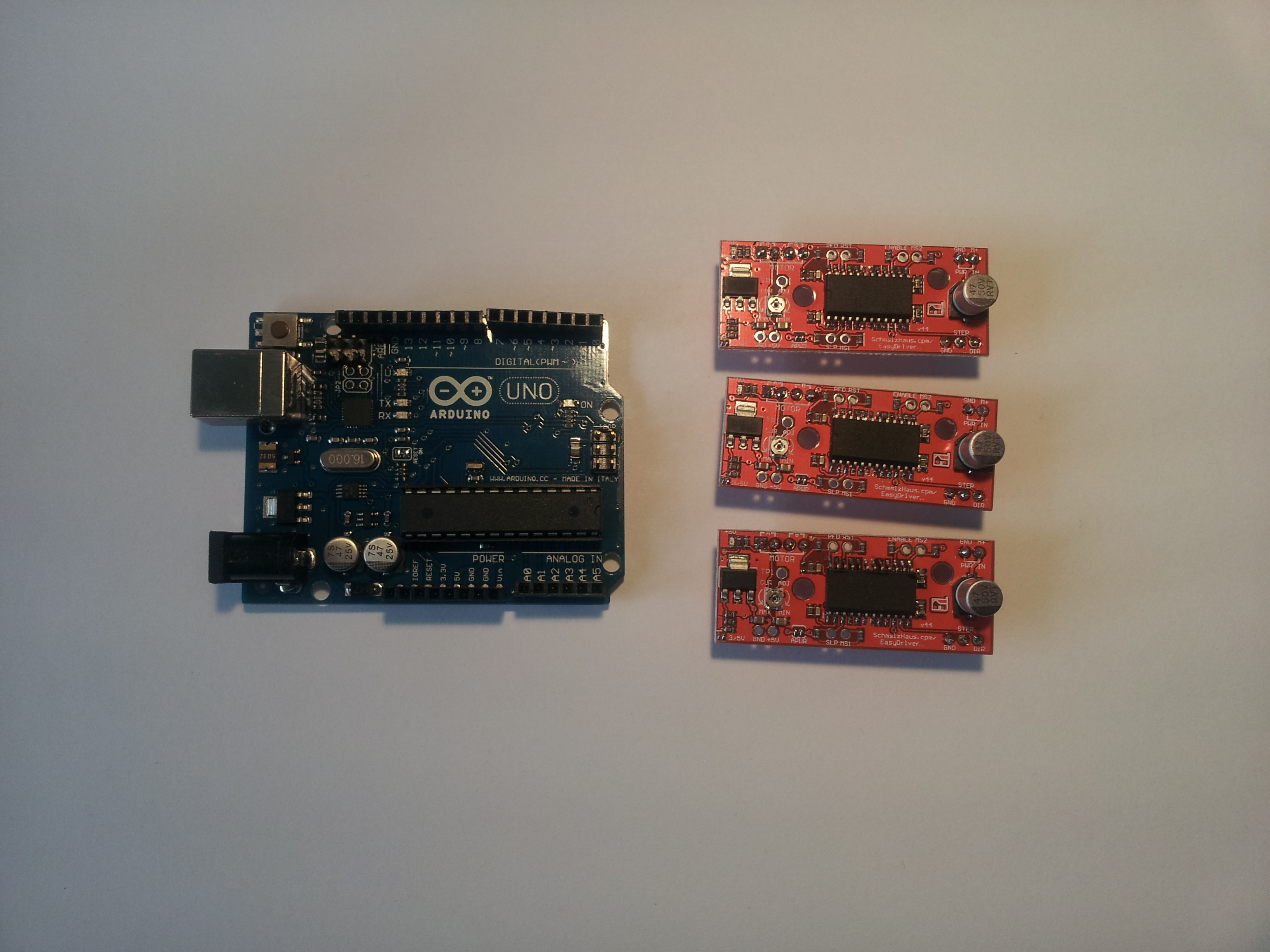 Picture of Attaching the Easydrivers and the Arduino