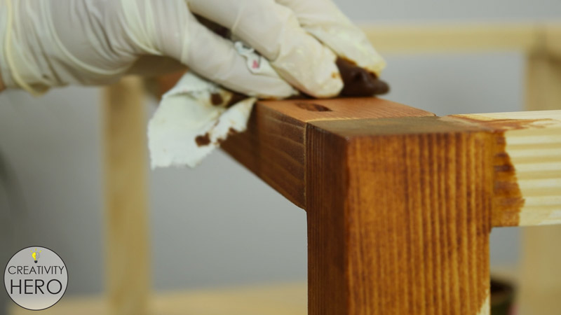 Picture of Staining the Bottom of the Table.