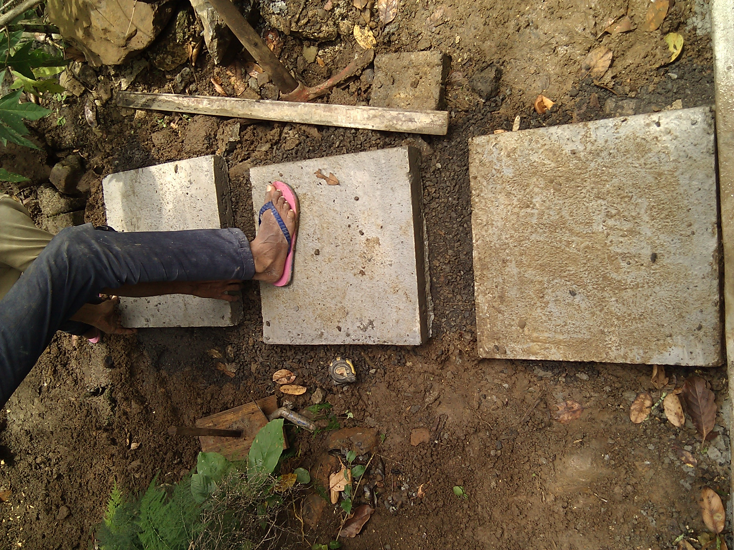 Picture of Preparing the Ground to Accept the Slabs