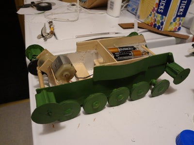 Painting Chassis, Cutting Out Body Panels, Painting Tracks & Body.