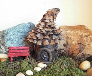 DIY Pine Cone Roof Fairy House Tutorial