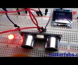 Maduino UNO With OLED Ultrasonic Range Finder and Visuino