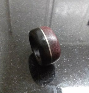 Multi-colored Wooden Ring With Metal Band