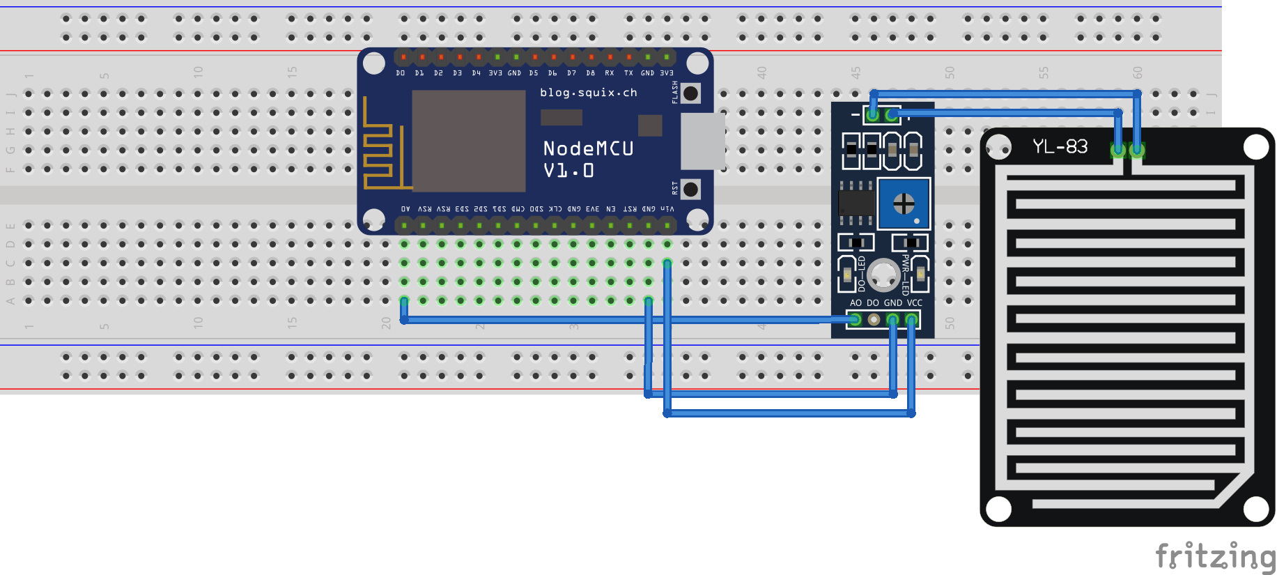 Picture of Circuit Diagram of Raindrop Sensor Interfacing With NodeMcu