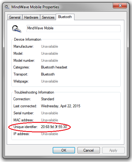 Picture of Determine the MAC Address or Unique Identifier of Mindwave Mobile