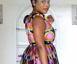 Vintage inspired dress with African wax fabric