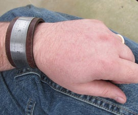 Ruler and Leather Cuff Bracelet