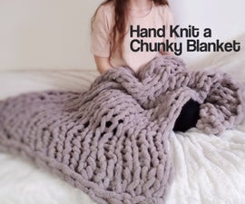 Easy Chunky Hand-Knitted Blanket in One Hour