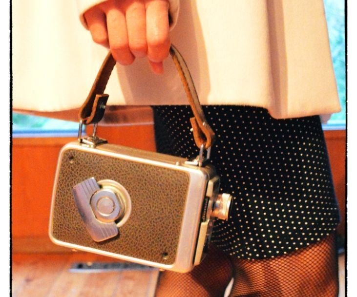 Vintage Movie Camera Hand Bag