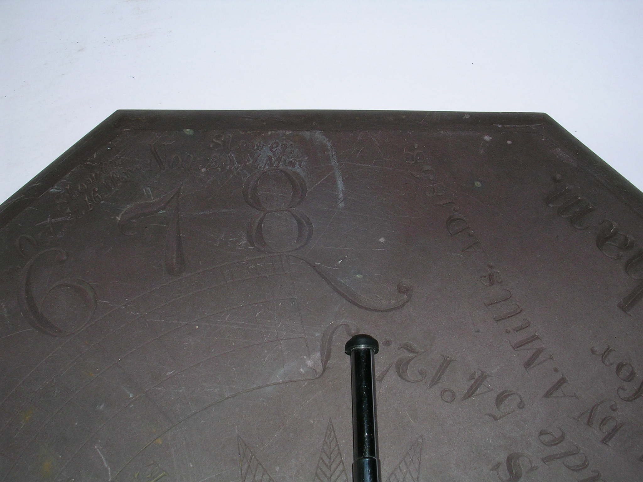 Picture of A Slate Sundial, Carved by My Great Great Great Grandfather in 1858.