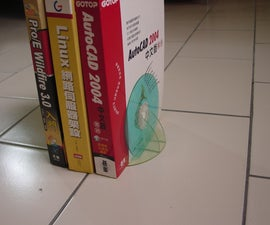 Bookend made of CDs.