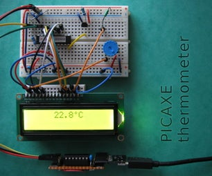 PICAXE Thermometer Prototype With DS18B20 Sensor and LCD Display