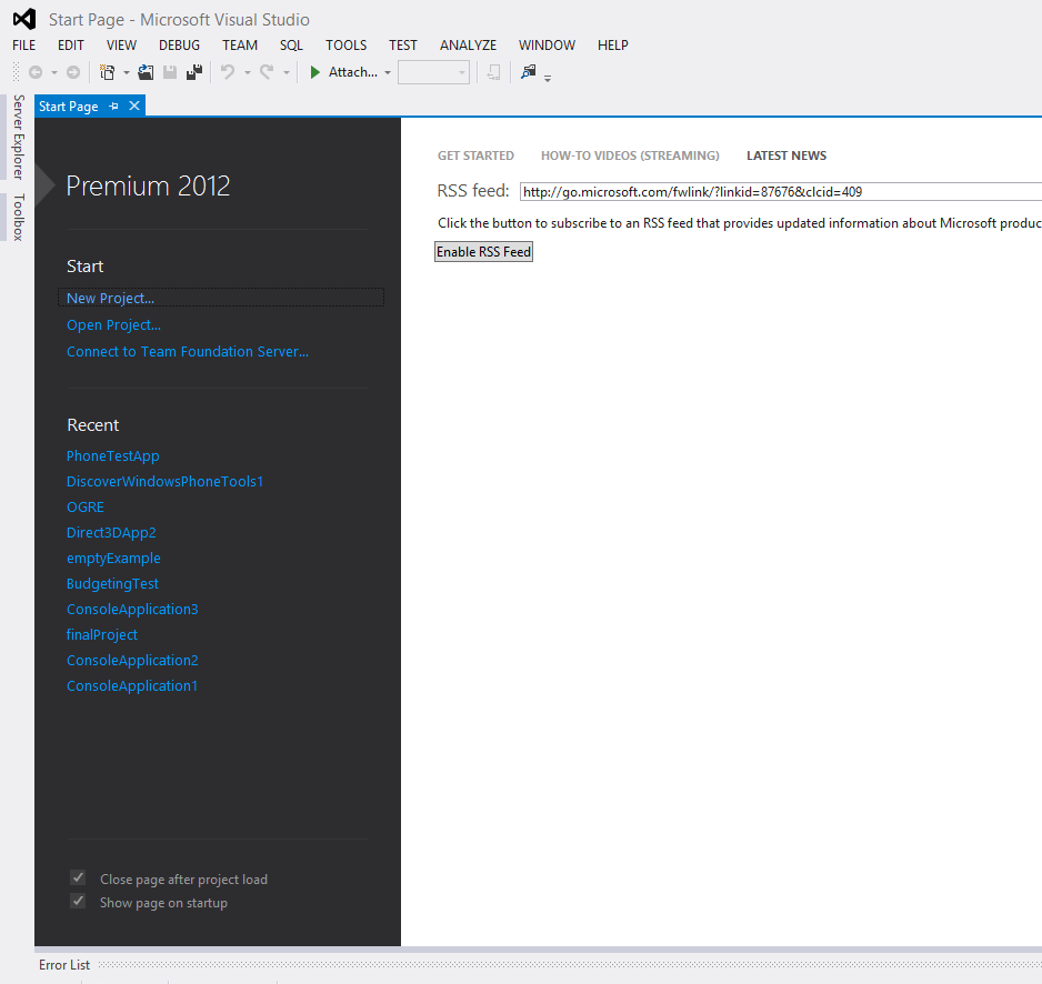Picture of Fire Up Visual Studio 2012 (Any Version Above Express)