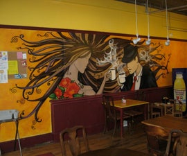 Coffee Shop Airbrush Mural (time Lapse Video)