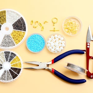 Supplies Needed to Make the Blue Seed Beads Bracelet