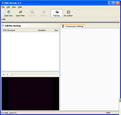 Picture of Overview of DVD Shrink