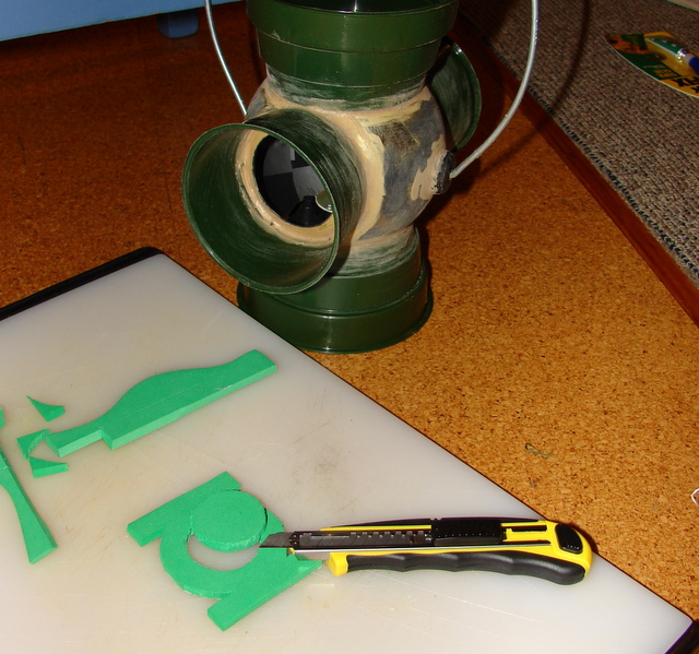 Picture of Cut Out Green Lantern Symbol and Attach Ready for Painting
