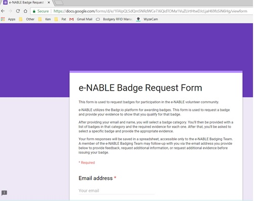 Picture of Submit Your E-NABLE Badge Request Form