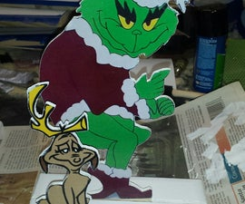 Scroll saw Grinch and dog holiday decoration