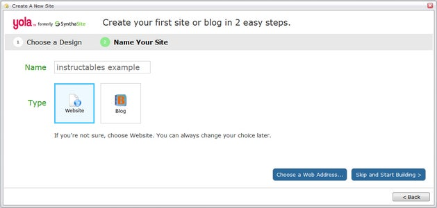 Name Your Site and Choose a URL