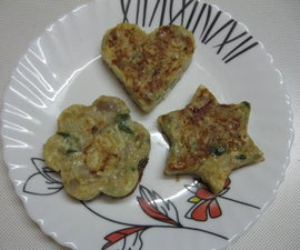 Egg Omelette Prepared in Cookie Cutter Moulds