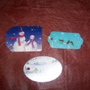 Gift tags made out of old B-day cards,Christmas cards, ect.....