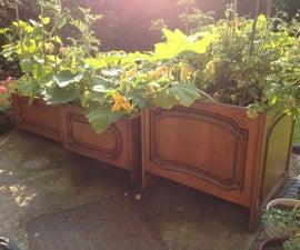 Recycled Kitchen Cupboard Door Planters