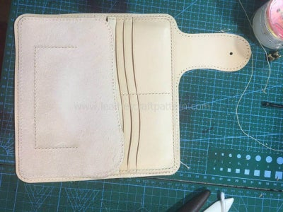 "Sew Pouch Back Leather On, Only Sew ""["" Shape Stitching Line."