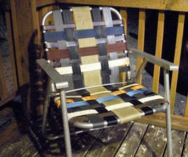 Refurbished folding lawn chair with repurposed materials