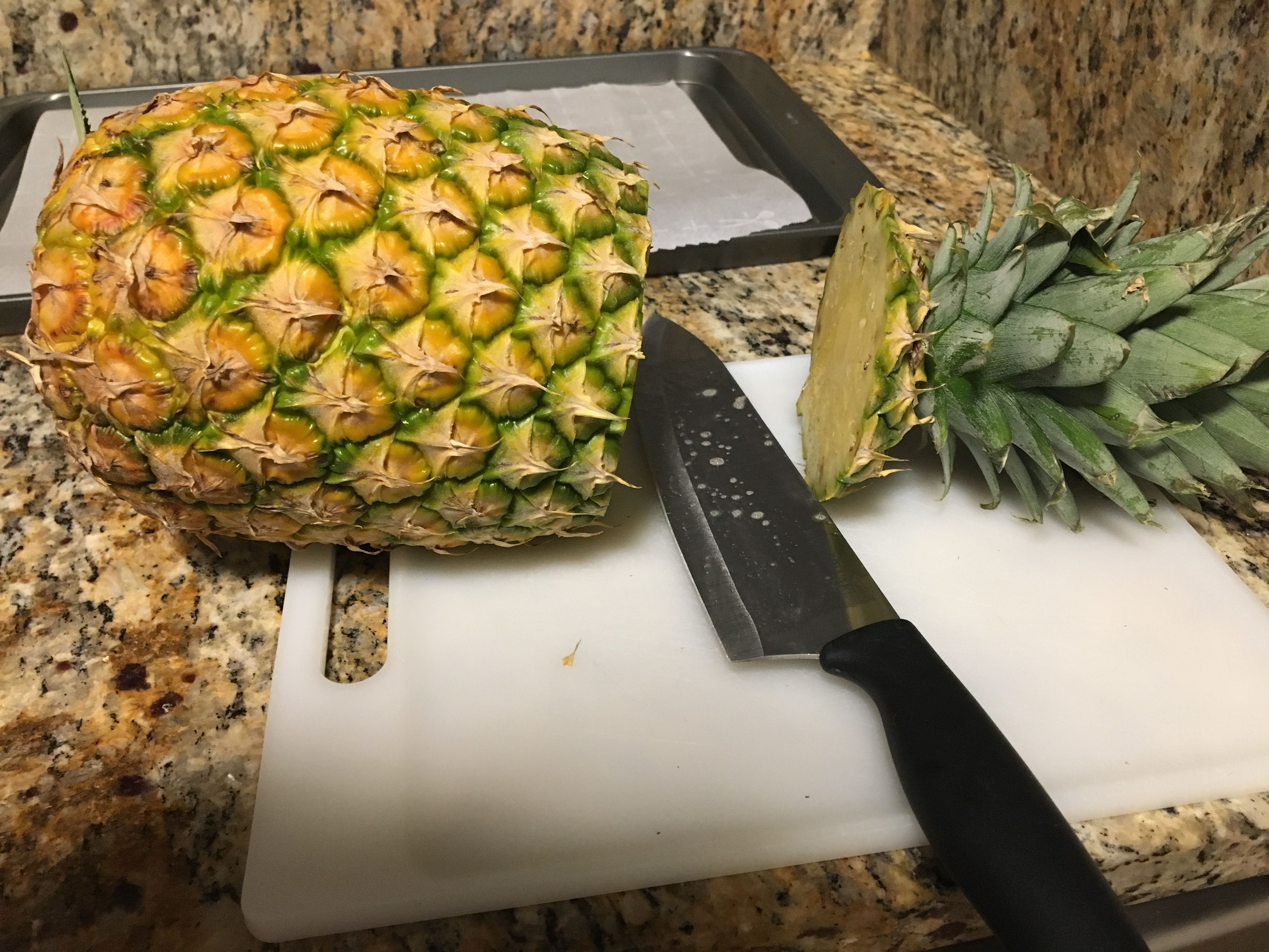 Picture of Cut Off the Top and Bottom of the Pineapple