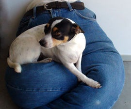 "No-Sew Blue Jeans Portable ""Lap"" Dog Bed!"