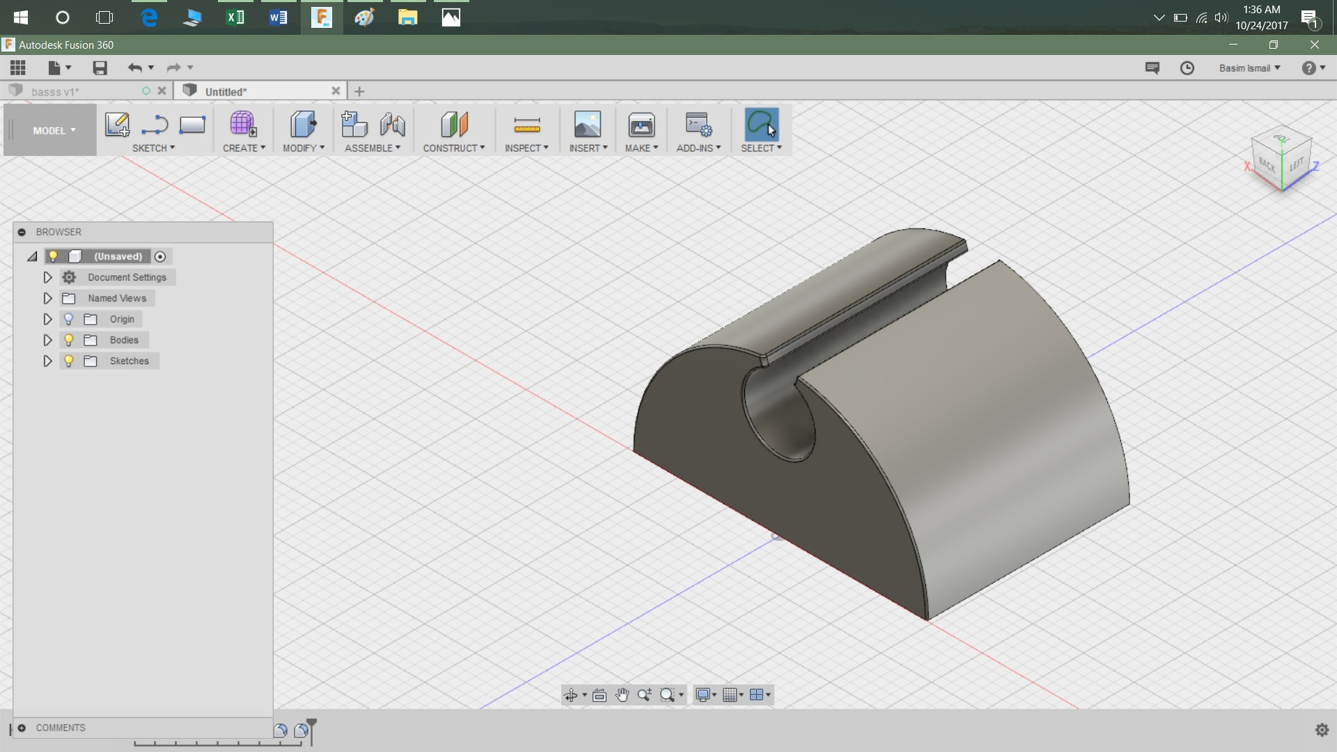 Picture of Step 4: Make a Hole in the in the Extruded Part Using the Hole Function Under the Create the Tab