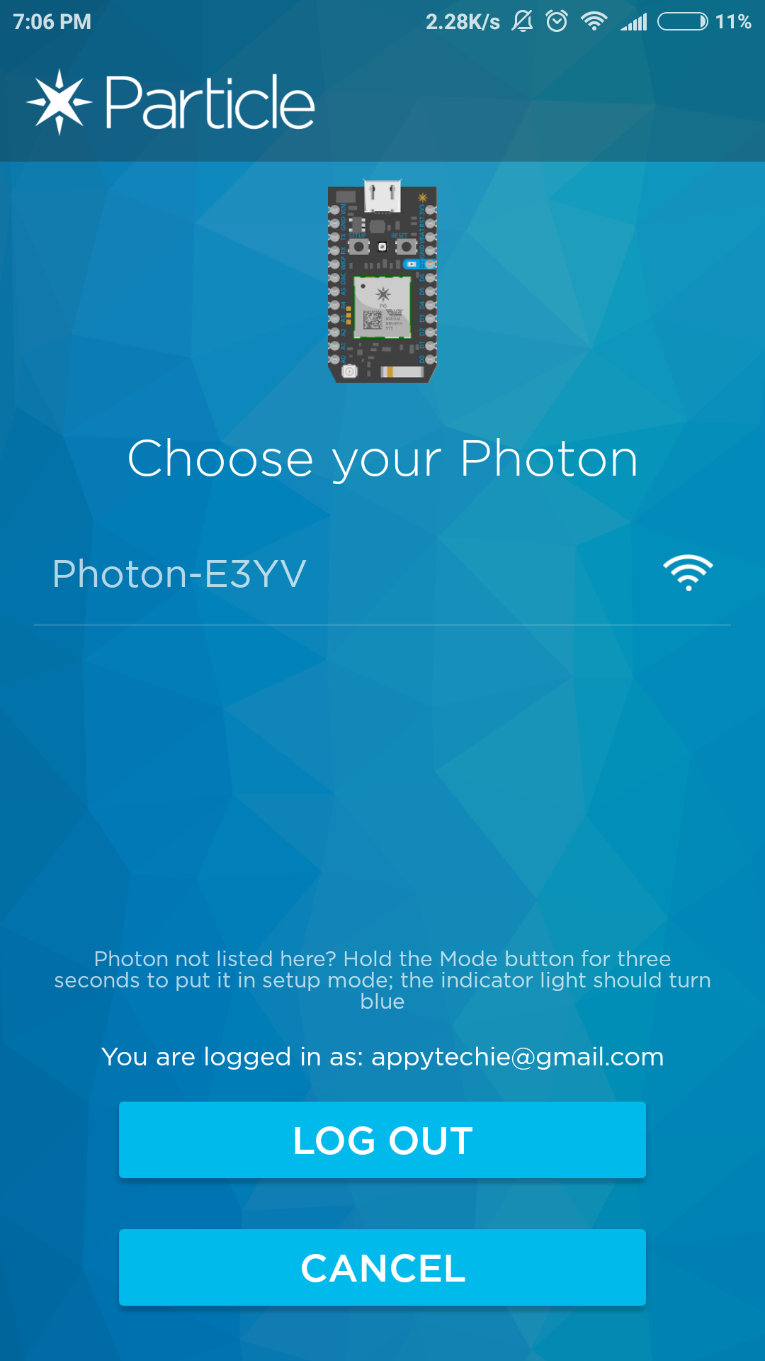 Picture of Wifi Linkage to the Photon