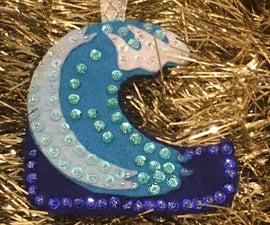 Blue Wave Beaded Felt Ornament