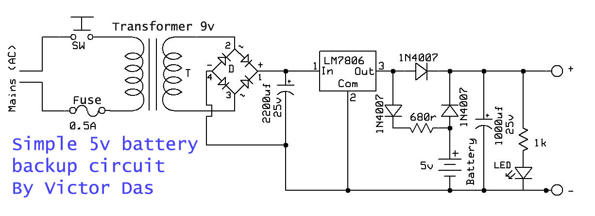 Simple 5v Battery Backup Circuit