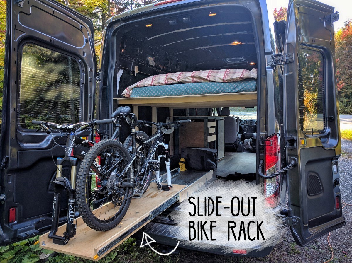 Picture of How to Build a Slide-out Bike Rack in a Camper Van Conversion