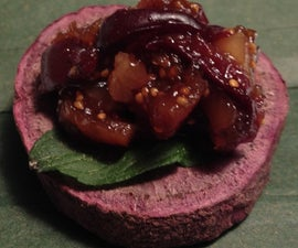 Purple Sweet Potato Rounds with Walnut Fig Jam Tapenade
