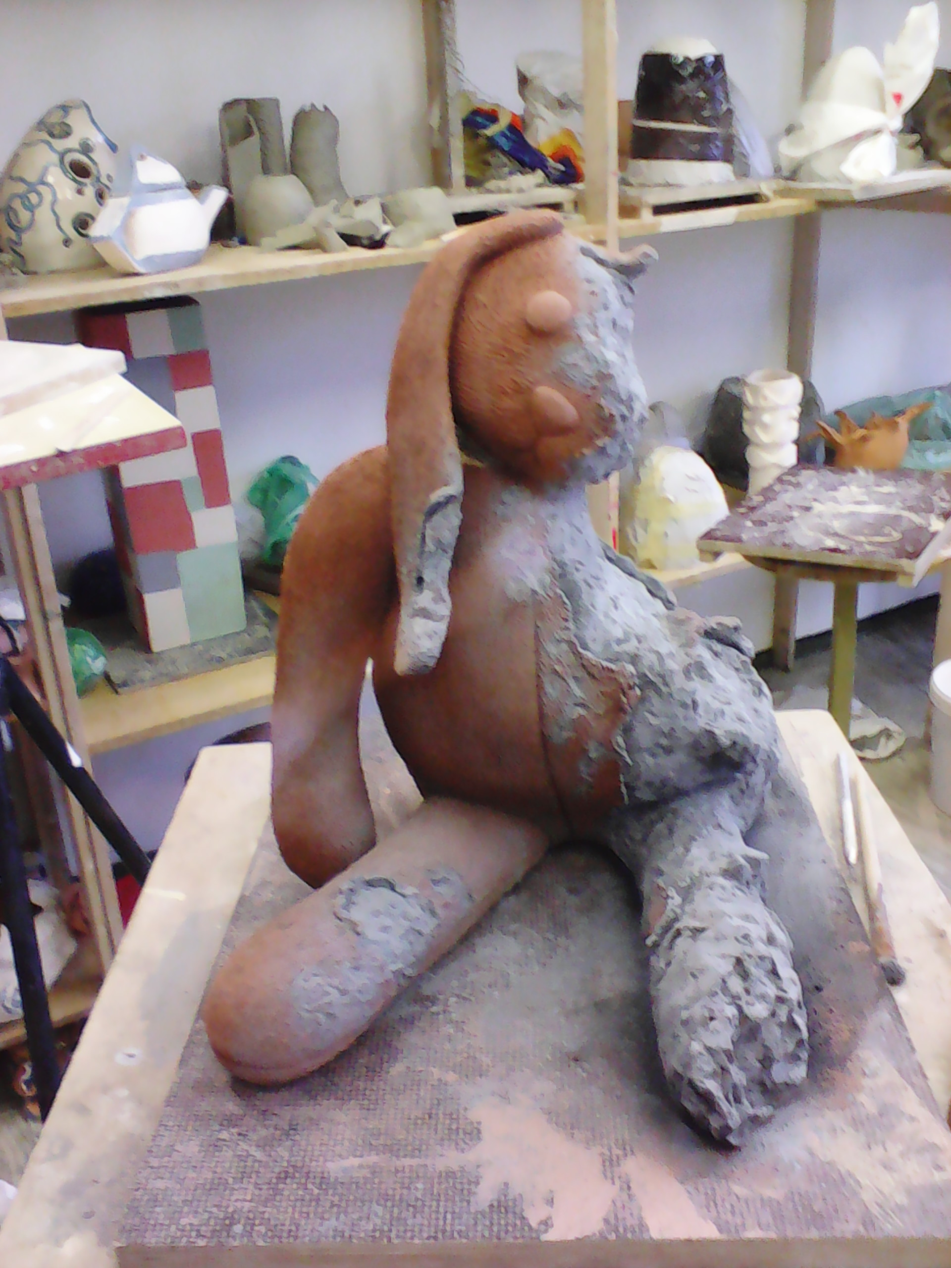 Picture of Adding Pigment on Fresh Clay