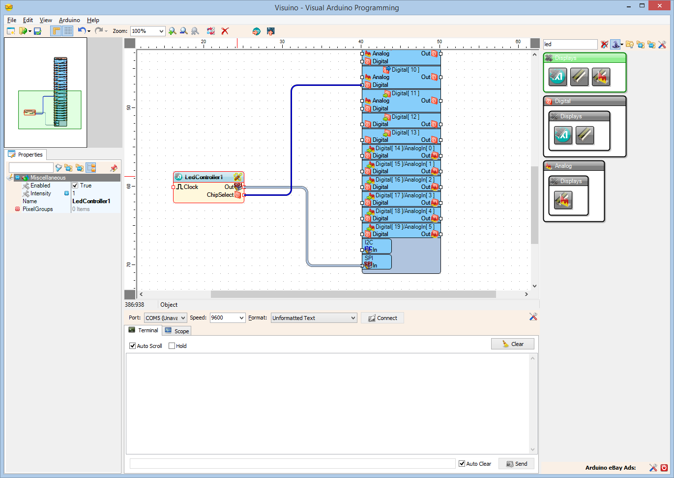Picture of In Visuino: Add Integer Display 7 Segments Element to the Maxim LED Controller Component