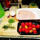 RED YELLOW GREEN CHERRYS TOMATOES AND CHICKEN BREAST.