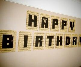 Minecraft Printable Happy Birthday Banner