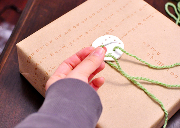Picture of Salt Dough Gift Tags With Upcycled Wrapping