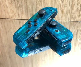 D.I.Y. Ice Blue Nintendo Joy Cons-Clear Case