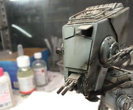 Motorized, Sound reacting Star Wars At-St Bandai Model, with Arduino.