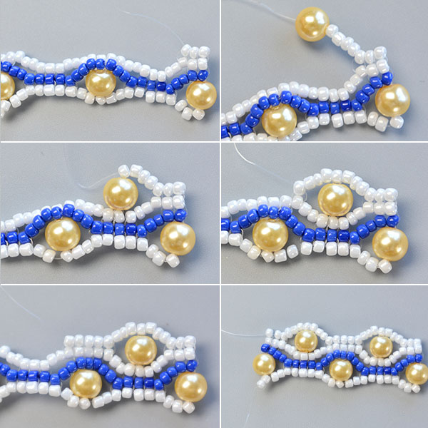 Picture of Make the Sixth Part of the Blue Seed Bead Stitch Wide Bracelet