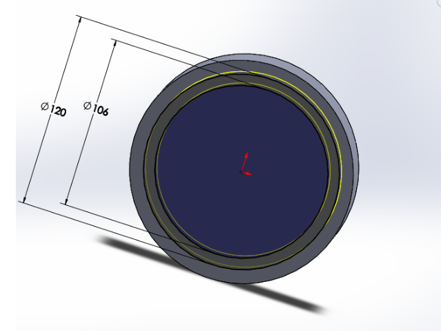 """Picture of Sketch a 106mm and 120mm Diameter Circle on the Surface of the Cylinder and """"Extrude Cut"""" Downward for 10mm"""