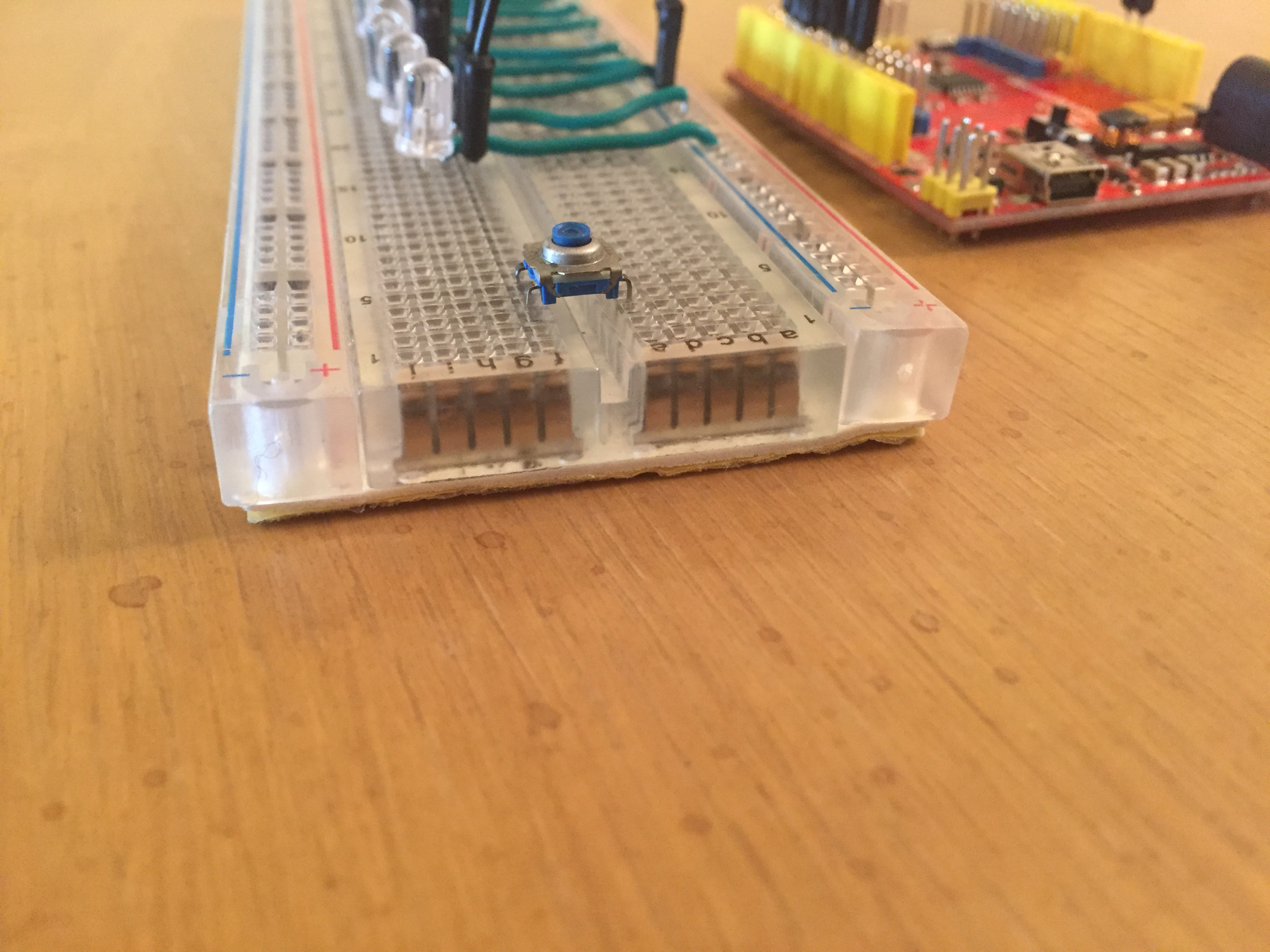 Picture of Next Place the Button on the Breadboard